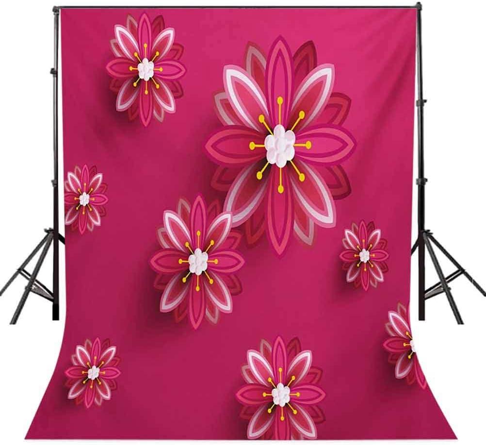 6.5x10 FT Photo Backdrops,Oriental Sakura Tree Flowers Ornament Design Traditional Spring Seasonal Pattern Background for Baby Shower Birthday Wedding Bridal Shower Party Decoration Photo Studio