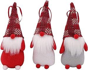 PartyTalk 3pcs Handmade Swedish Tomte Christmas Gnome, Scandinavian Santa Gnome Christmas Ornaments for Home Holiday Christmas Hanging Decorations Xmas Gifts