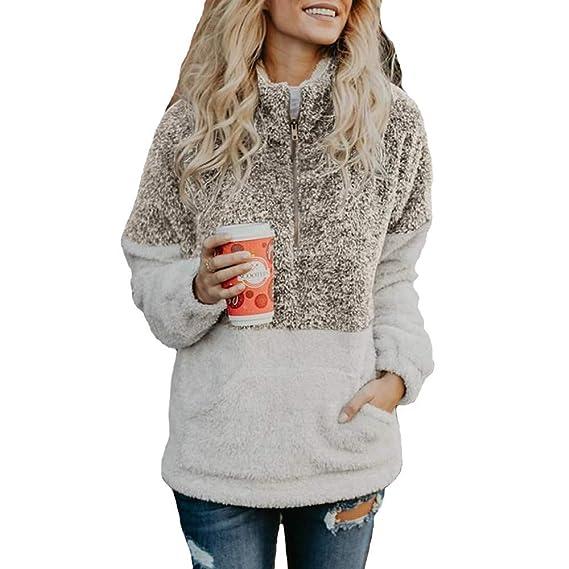 Longra 2018 Moda Mujer Terciopelo Manga Larga con Cremallera Cuello Alto Bolsillos Tops suéter Blusa