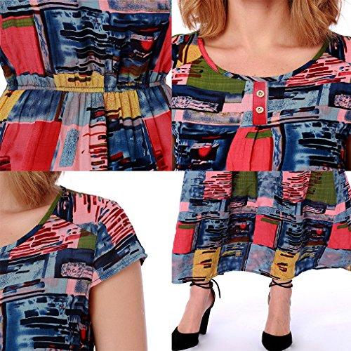 corta Dress manica Bohemia stile D Fiore alta Stampato Beach Donna vita Long Acmede elastico 0wR8q8