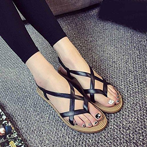 Tefamore Mujer zapatos planos vendaje Bohemia ocio sandalias de señora Peep-Toe zapatos al aire libre Negro