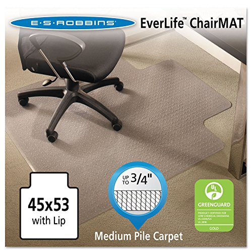 ES Robbins 122173 EverLife Chair Mats for Medium Pile Carpet with Lip, 45 x 53, Clear