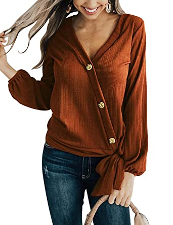 ed03b3e5 MEROKEETY Women's Long Sleeve V Neck Tie Knot Front Button Chiffon Shirt  Blouse Tops Caramel