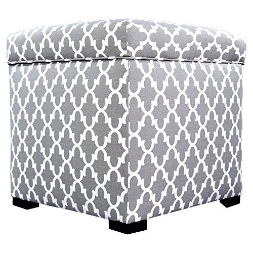MJL Furniture Designs Tami Collection Fabric Upholstered Lift Top Storage Foot Rest Cube Ottoman, Fulton Series, Storm For Sale