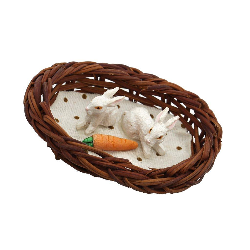 MagiDeal 1/12 Scale Animal Ceramic Bunny Rabbit Nest Carrot Miniature Dollhouse Decor