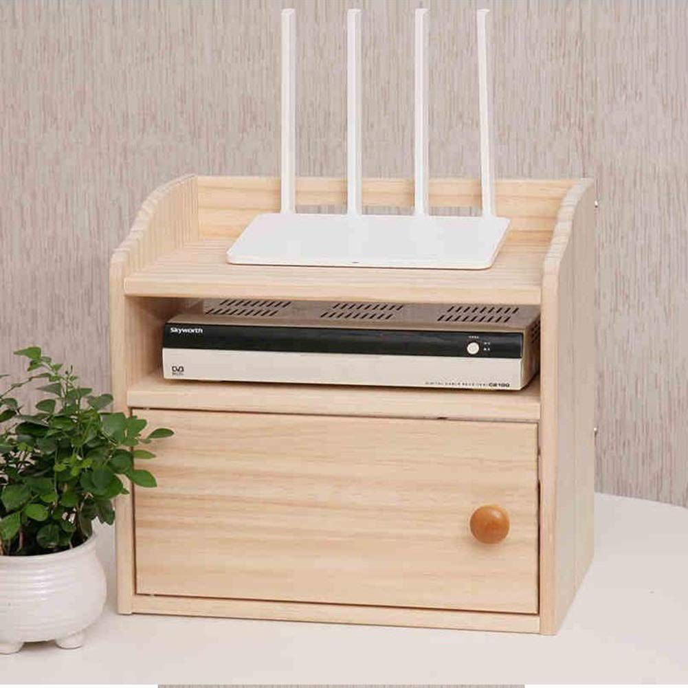 Router Storage Box, Solid Wood Wire Storage Box, Rack TV Set-top Box, Row Socket Finishing Box WiFi Box Yixin (Color : A, Size : 3221.529.5cm)