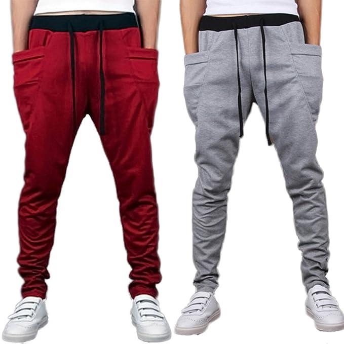 31e07ff1354 Combo Hothanger Grey   Red Cool Fashion Mens Pants Casual Baggy Jogger Harem  Sweatpants Pants Slacks