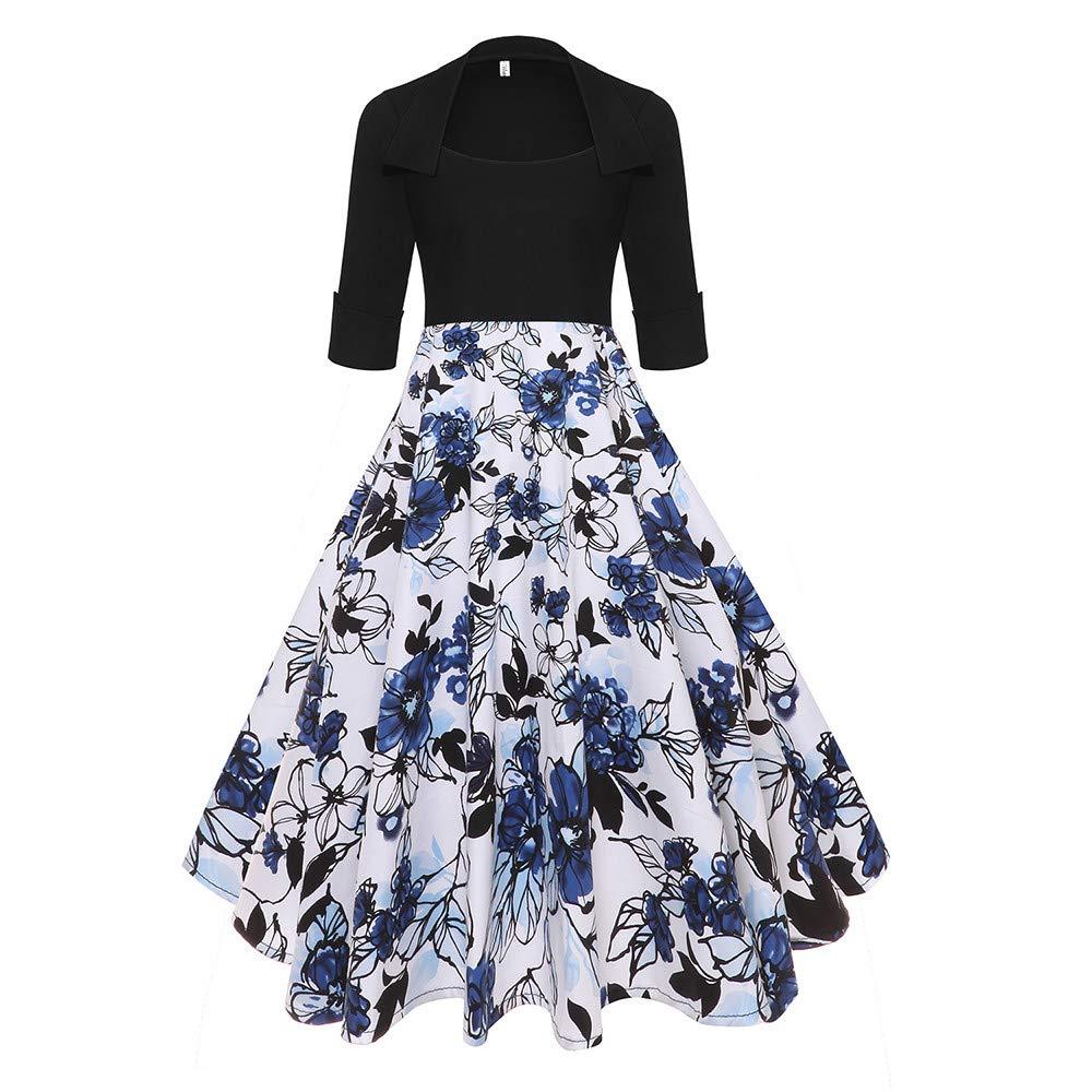 the best attitude 2ce2c d2846 HWTOP Rockabilly Kleider Damen Elegant Langarm Kleid ...