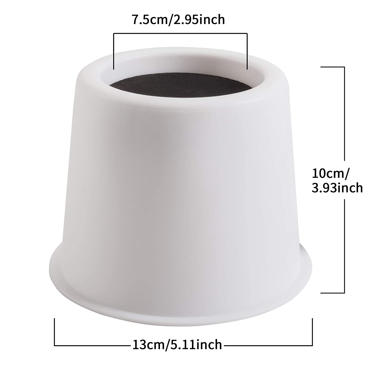 Supports 2,000 lbs Set of 4 white Lift Furniture Risers,Adds 2 Height to Heavy Furniture or Beds Aocool Adjustable Bed Risers