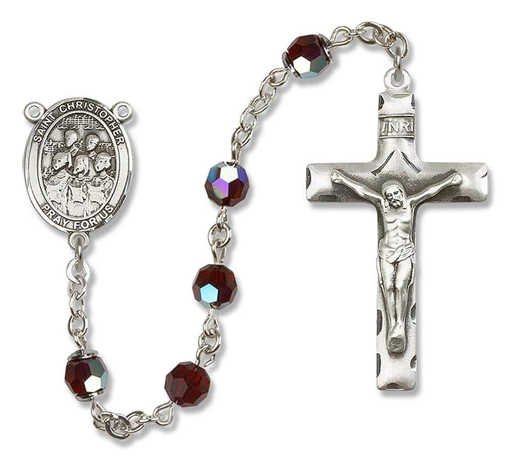 Christopher//Choir Center is the Patron Saint of Travelers//Motorists. 6mm Swarovski All Sterling Silver Rosary with Garnet Austrian Tin Cut Aurora Borealis Beads St