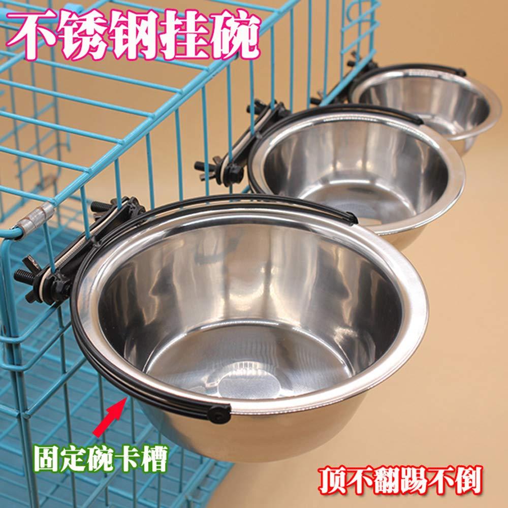 DIYurfeeling Stainless Steel Dog Bowl Hanging Cage Pet Bowl