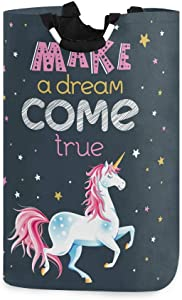 ALAZA Motivational Quote with Unicorn Large Laundry Hamper Bag Collapsible with Handles Waterproof Durable Clothes Round Washing Bin Dirty Baskets Organization for Home Bathroom Dorm College