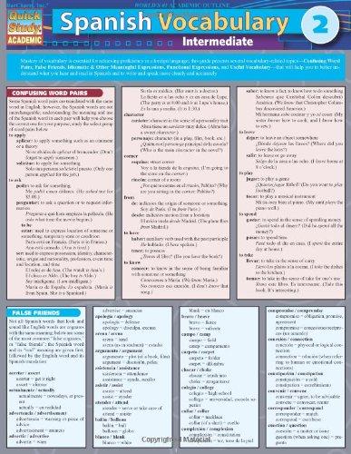 Spanish Vocabulary 2: Intermediate (Quick Study: Academic)