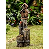 Tiered Wood Finish Water Fountain with Birdhouse For Sale