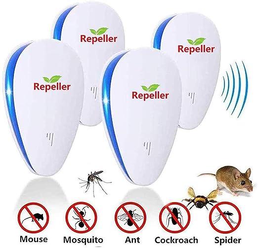 4 Piezas Repelente Ultras/ónico de Plagas Repelente de Insectos Interiores Control de Mosquitos Ratones Hormigas Cucarachas Moscas Ara/ñas Pulgas