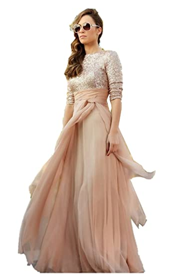 Promworld Womens Evening Gown with Sleeves Sequin Bodice Prom Dress 2018 Champagne US2
