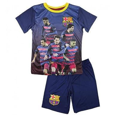 FC Barcelona – Conjunto de pantalones cortos y camiseta de fútbol FC Barcelona Oficial 2016 infantil