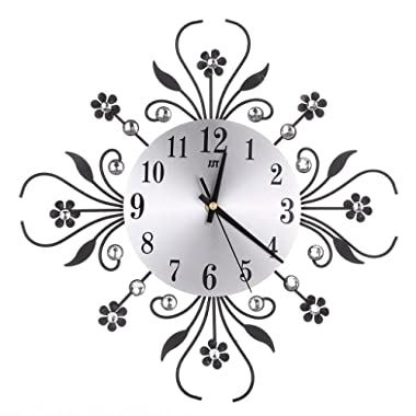 BloomingJS Modern Metal Wall Clock Luxurious Flower Diamond Rhinestone Silent Room Home Office Decor (Black)