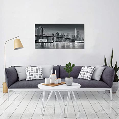 Amazon Com B Blingbling Posters For Room Aesthetic Canvas Art Wall Decor Brooklyn Bridge Night View Wall Decals For Living Room With Frame And Ready To Hang 20x40in Posters Prints