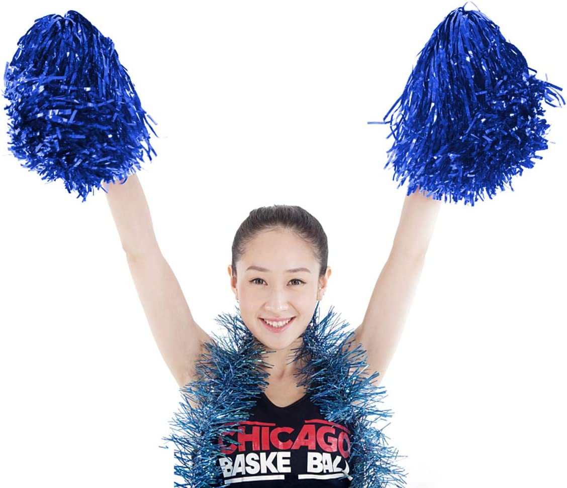 Blau Ultra Shining Pom Pom Cheerleader Puschel Tanzpuschel Party Sport Fu/ßball Zubeh/ör 12er Pack Cheerleading Pom Poms
