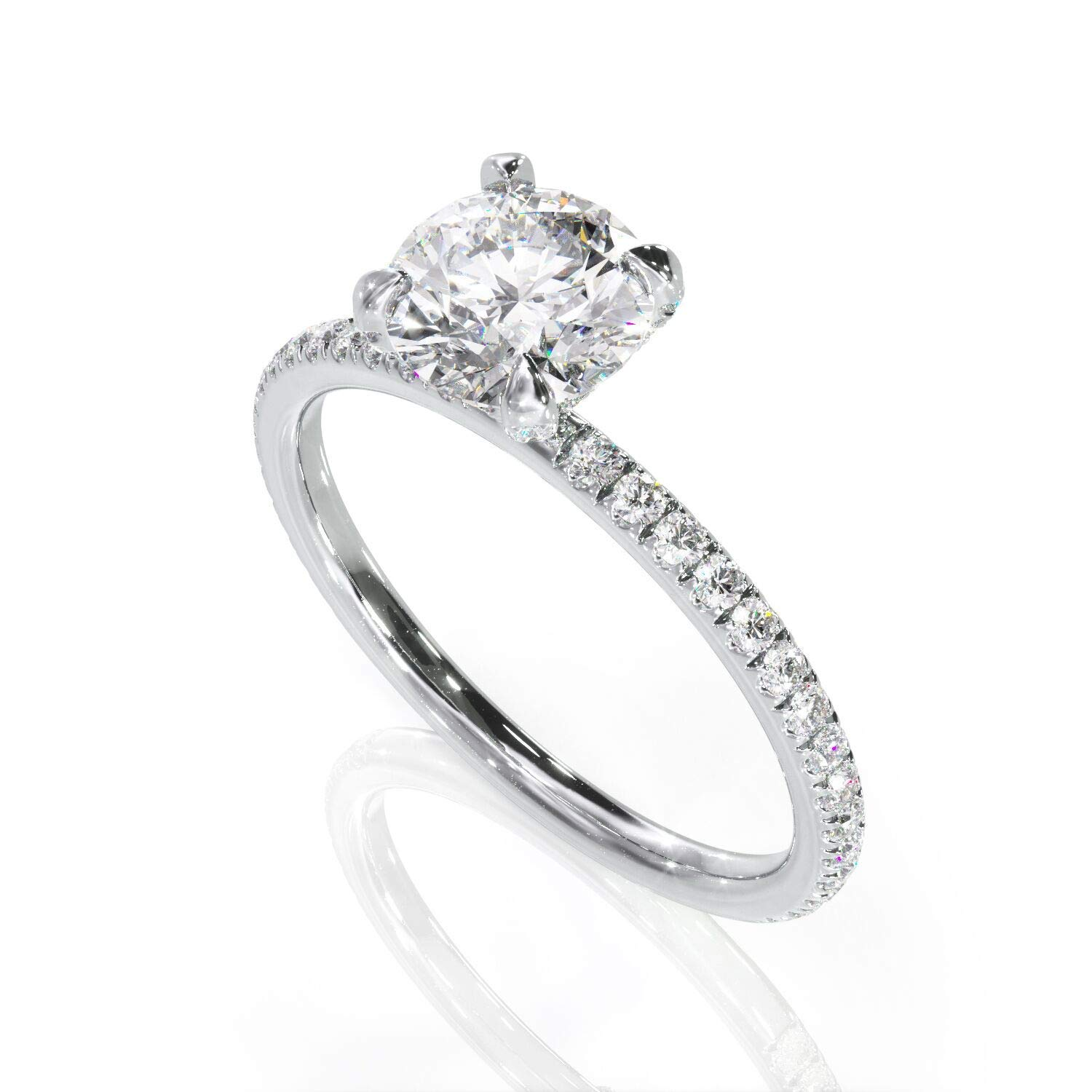 Pave Solid Gold Handcrafted Thin Solitaire KEYZAR Dainty Engagement 1 ct Lab Diamond Ring for Women