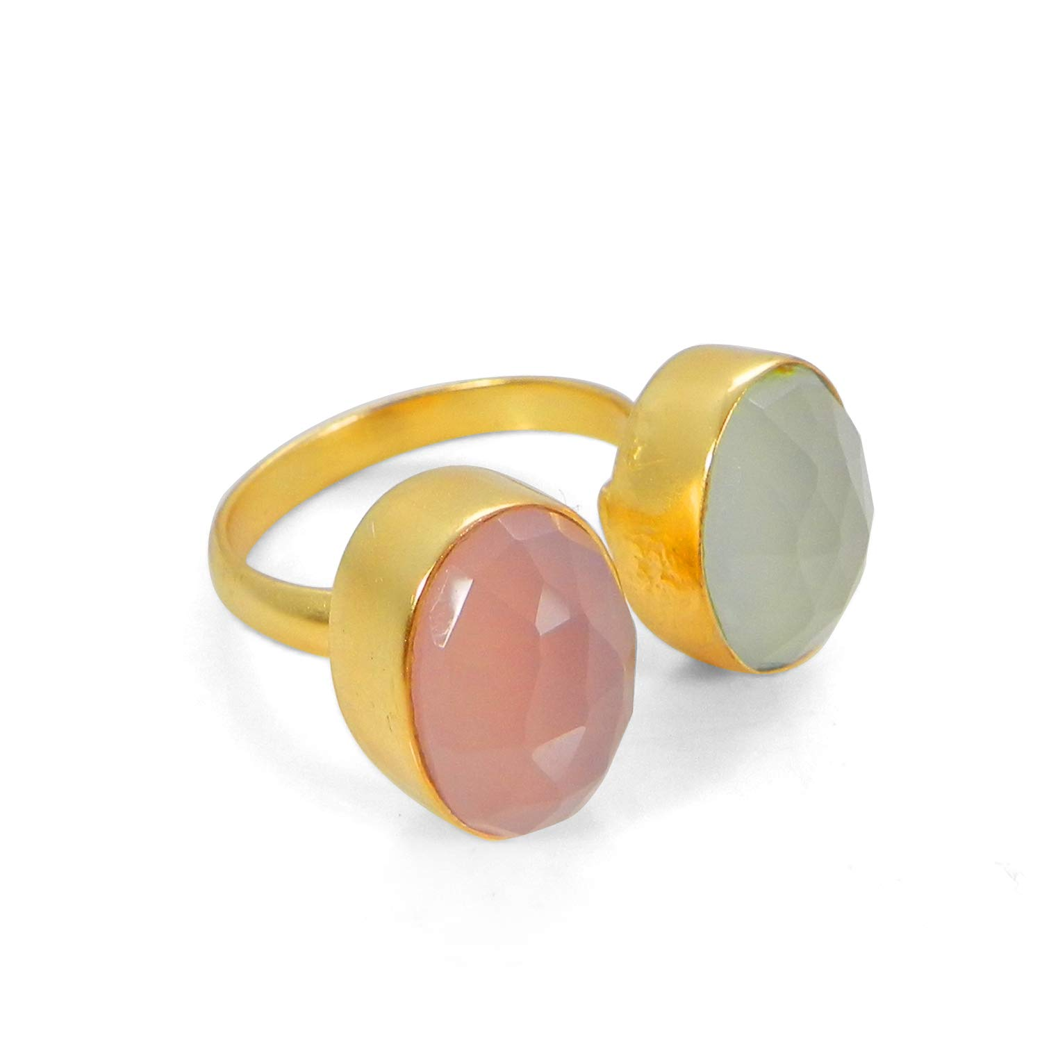 Gold Plated Jewelry Shilpi Impex 2 Gemstone Ring Pink Stone and Aqua Chalcedony Stone Jewelry