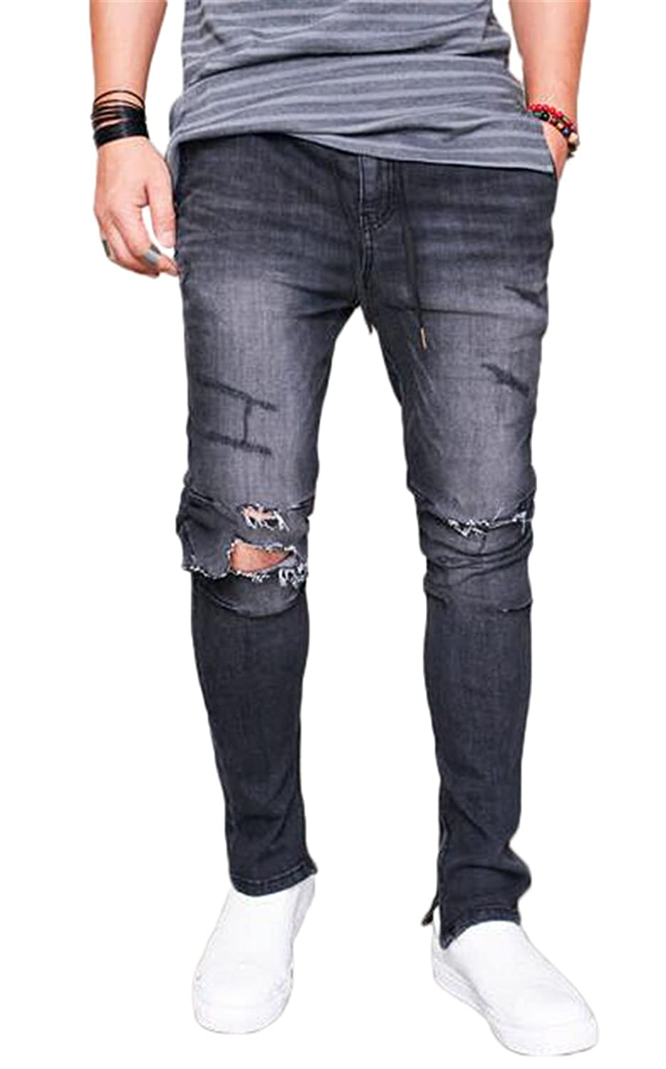 45a8336f ... brings a new jeans wearing experience. Mediumwaisted, Elastic Waist,Big  Ripped Destroyed Holes,Tapered Leg with Zipper Closure Fashion denim, the  pants ...