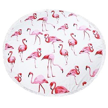 FitLit Toalla de playa redonda - Flamingo patrón, gran 59 pulgadas, grueso y suave, manta de picnic Hippie, toalla de baño, estera de yoga: Amazon.es: Hogar