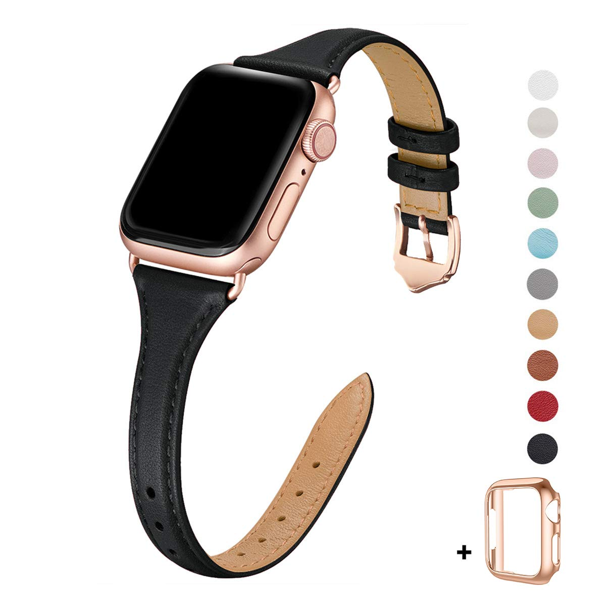 WFEAGL Leather Bands Compatible with Apple Watch 38mm 40mm 42mm 44mm, Top Grain Leather Band Slim & Thin Replacement Wristband for iWatch Series 4/3/2/1 (Black Band+Rose Gold Adapter, 38mm 40mm) by WFEAGL