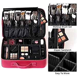 [Gifts for women] ROWNYEON PU Leather Makeup Bag Professional Makeup Organizers Bag Portable Travel Makeup Case EVA Makeup Train Case Best Gift For Girl (Pink Large)