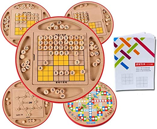 AA-SS Juego de Mesa de Madera Sudoku 5 en 1, Juego de Mesa, Juego de ajedrez Volador, 2220 Entrenamiento aduanero Math Brain Teaser IQ Training niños Juguetes educativos para Adultos: Amazon.es: Hogar