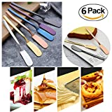 FashionMall Set Of 6, Food Grade 304 Stainless Steel Butter Knife Spreader Set,Cheese Knife with Thick Handle For Dinner Breakfast