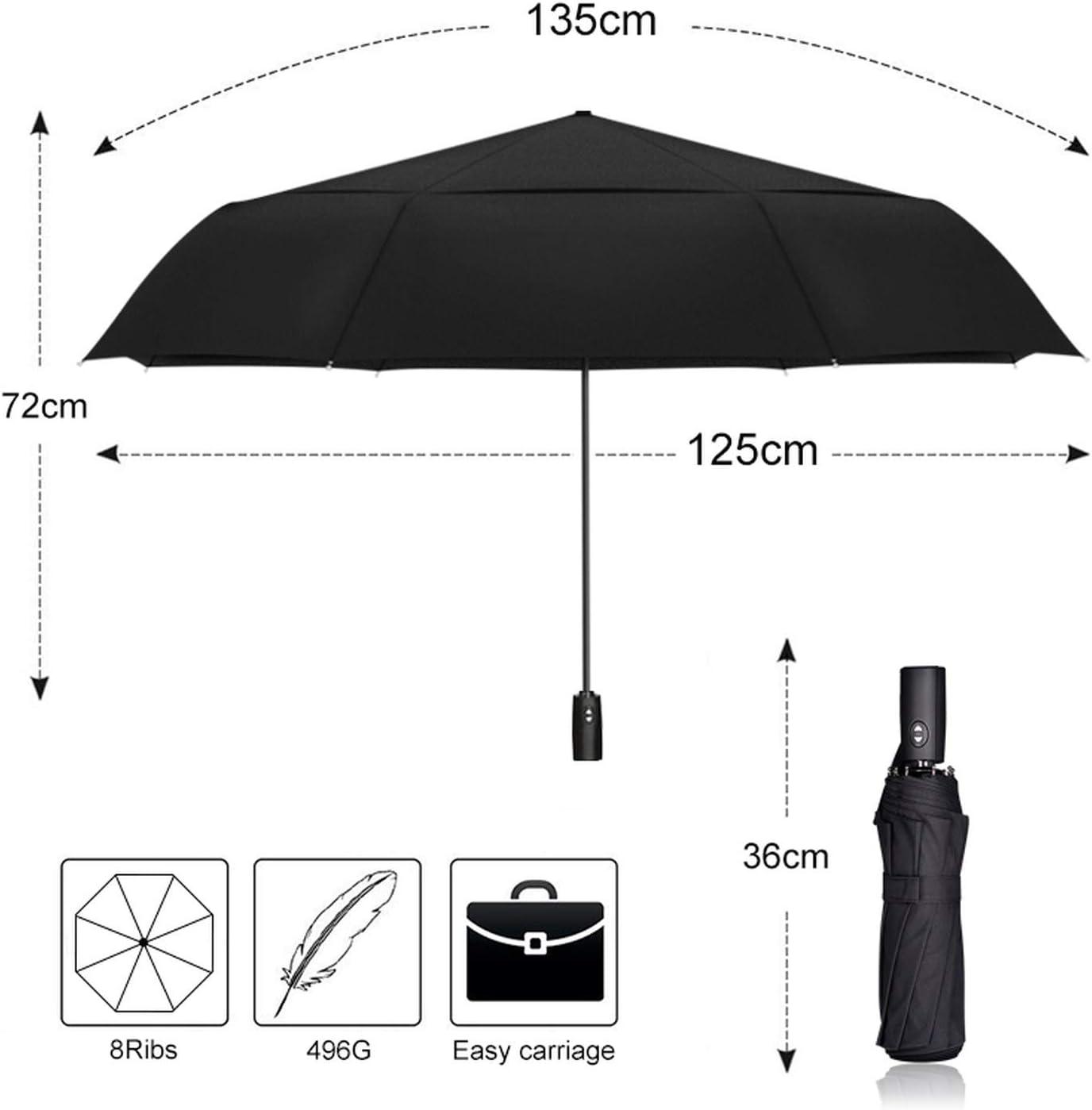125cm Big Automatic Double Layer Umbrella Rain Women 3Fold Windproof Large Outdoor Car Umbrella Men Woman,DARK BLUE
