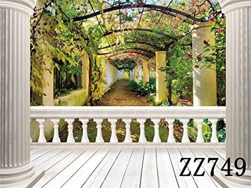 LB 7X5ft The Balcony Landscape Poly Fabric Photo Backdrops Customized Studio Background Studio Props ZZ749 (Landscape Backdrops)