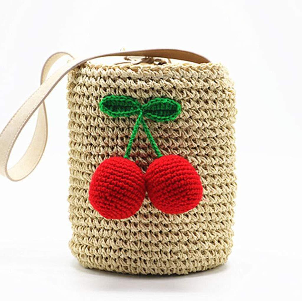 Ladies Handbag Outdoor Round Ladies Straw Woven Shoulder Bag Beach Handbag,Black (color   Red)