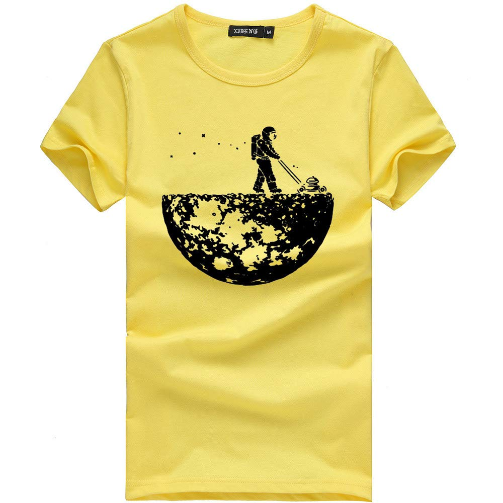Unisex Slim Fit T-Shirt Women Men Hipster Hip Hop Graphic T-Shirts Printed Short Sleeve Casual Hawaii Tees Tops (Yellow, XL)