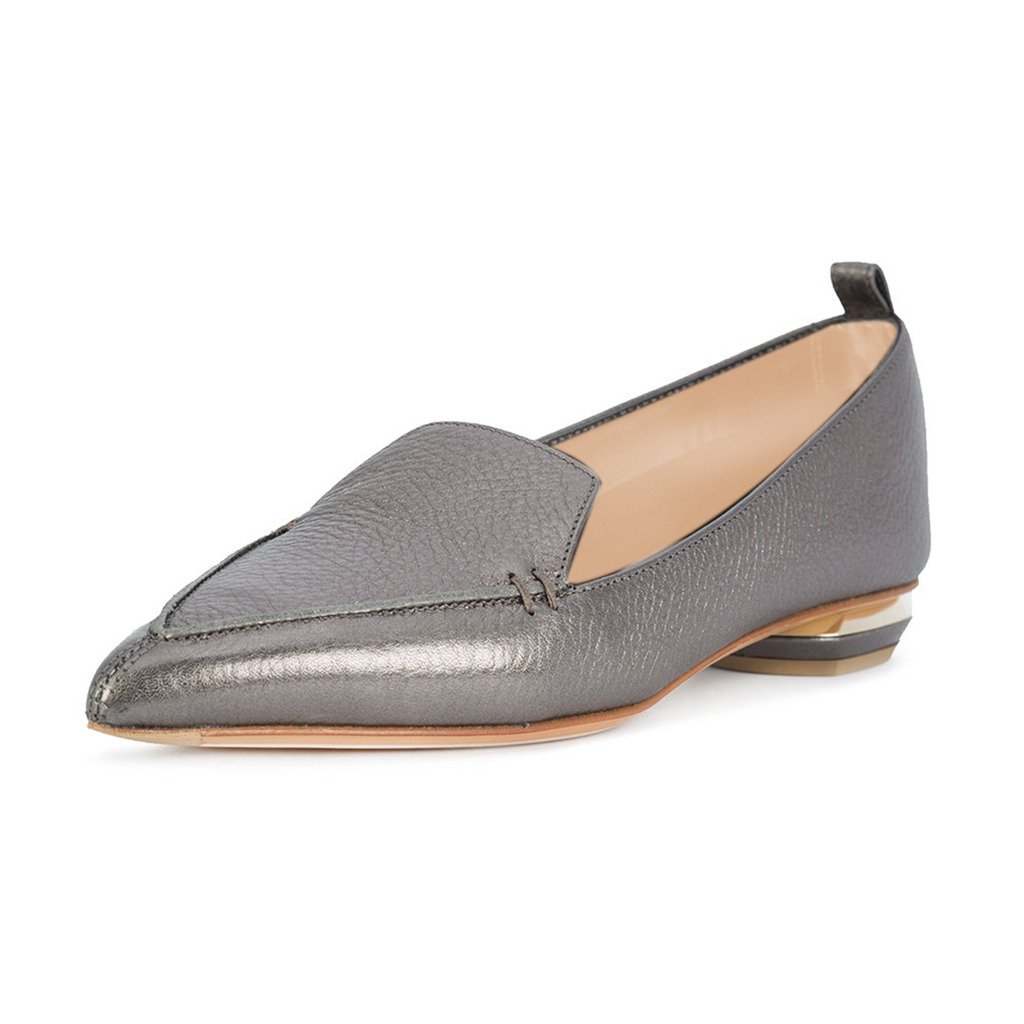 FSJ Women Fashion Pointed Toe Pumps Low Heels Casual Loafers Slip On Summer Shoes Size 12 Grey-Matte