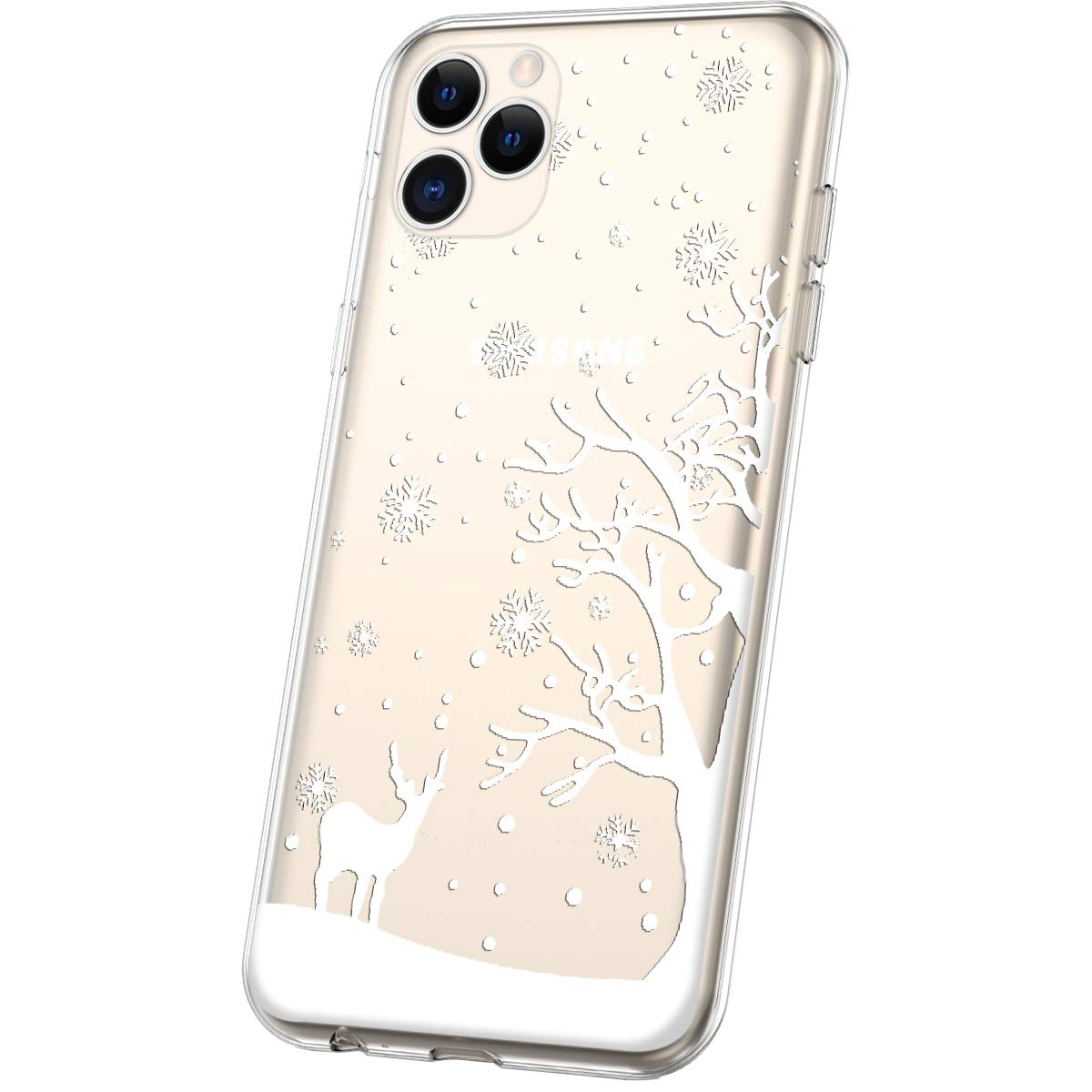 Herbests Compatible avec iPhone 11 Pro Max Coque TPU Silicone Transparente Coque avec No/ël Motif Design Antichoc Housse de Protection Back Cover Souple Case Transparente comme Cristal,Pure