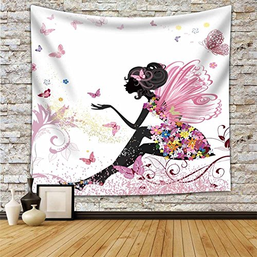 - Pink Butterfly Girl with Floral Dress Tapestry Wall Hanging Girl With Fairy Angel Wings Ornamental Floral Foliage Nature Forest Tapestry For Home Dorm Living Room Decor HYC02-B-US 79