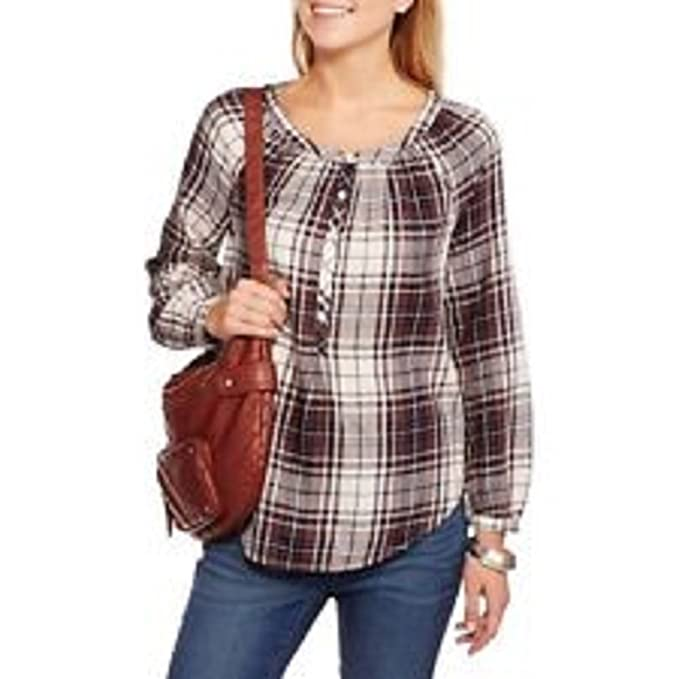 19abb045 Image Unavailable. Image not available for. Color: Faded Glory Women's  Popover Plaid Shirt ...