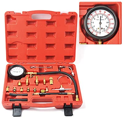 MIKKUPPA 0-140PSI Universal Fuel Pressure Tester Kit, for All Fuel Injection Systems Tester and Most Cars and Trucks World Wide: Automotive