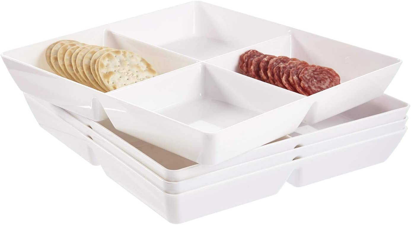 Avant 4-Compartment Plastic Appetizer Serving Tray | set of 4 White