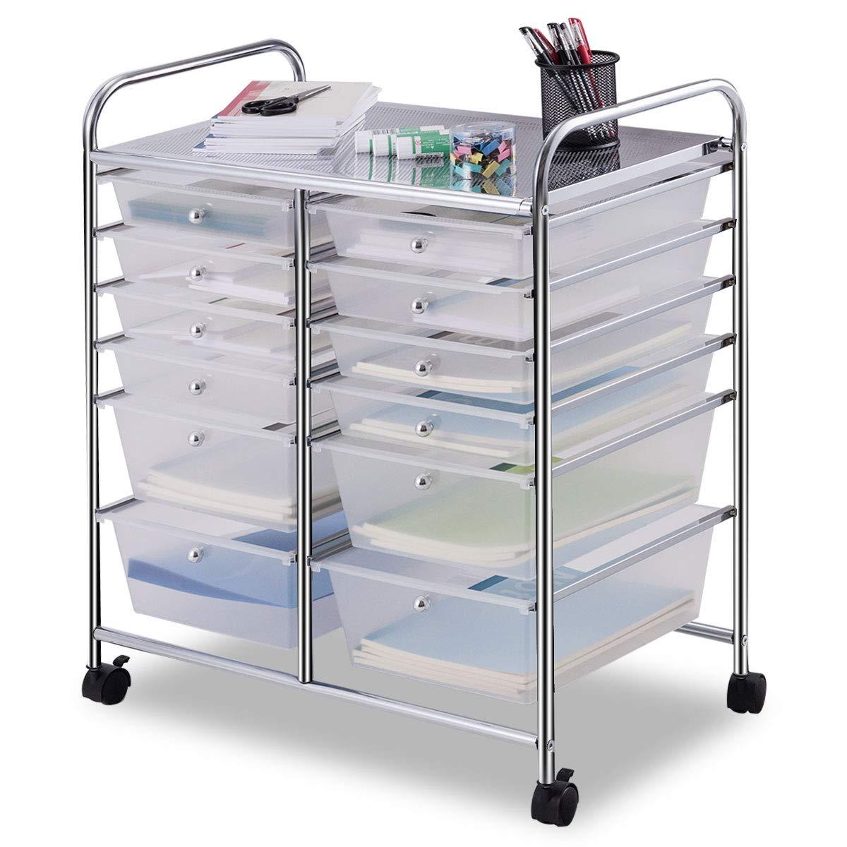 Giantex 12 Drawer Rolling Storage Cart Tools Scrapbook Paper Office School Organizer (White) by Giantex