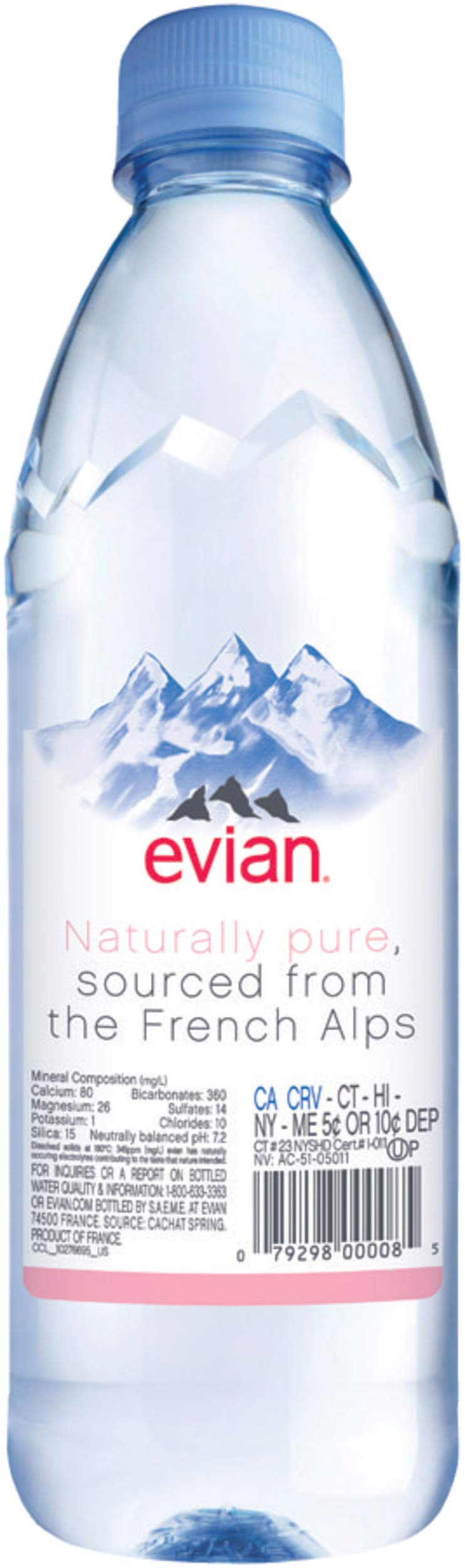 evian Natural Spring Water Bottles, Naturally Filtered Spring Water in Individual-Sized Plastic Bottles, 16.9 Fl Oz, Pack of 24 by evian (Image #4)