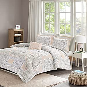 Comfort Spaces – Adele Comforter Set - 4 Piece – Blush & Grey – Medallions Print – Queen Size, includes 1 Comforter, 2 Shams, 1 Decorative Pillow