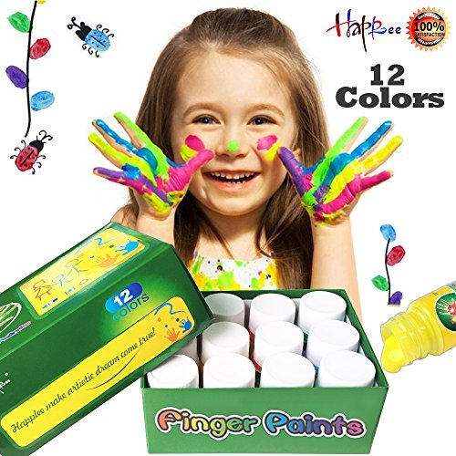 12 Colors Washable Finger Paint for kids, Happlee Non-Toxic Kids Fingerpaints, Paint Supplies 12x30ml(1.02 fl.oz)
