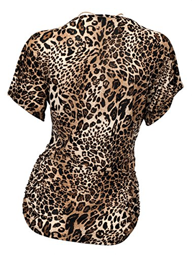 eVogues Plus Size Chain Necklace Accented Scoop Neck Top Animal Print - 1X