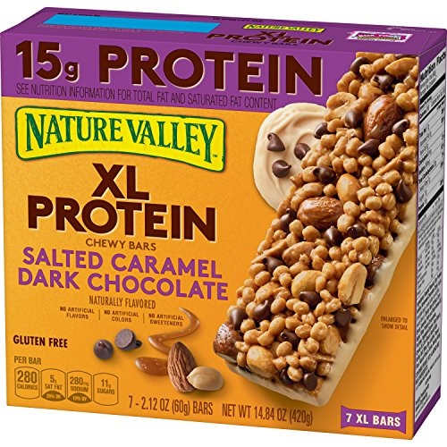 Nature Valley Xl Protein Chewy Bars Salted Caramel Dark Chocolate, 7 Count, (Pack of 6)