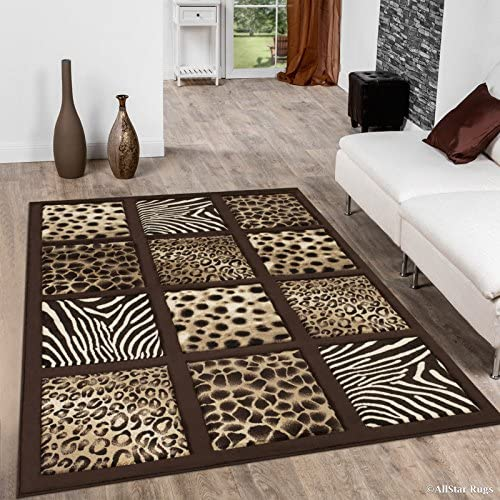 Allstar 8×10 Chocolate Cabin Hand Carved Rectangular Accent Rug with Ivory and Mocha Framed Animal Skin Variety Design 7 1 x 10 5