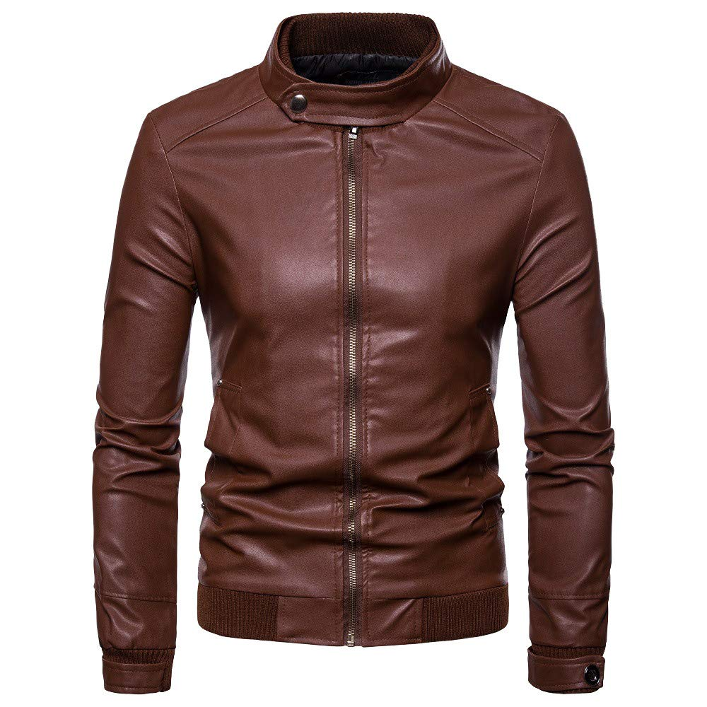 WUYIMC Men's Leisure Windbreaker Motor Jacket Zipper Thermal Leather Warm Jackets Coats Top by WUYIMC (Image #1)